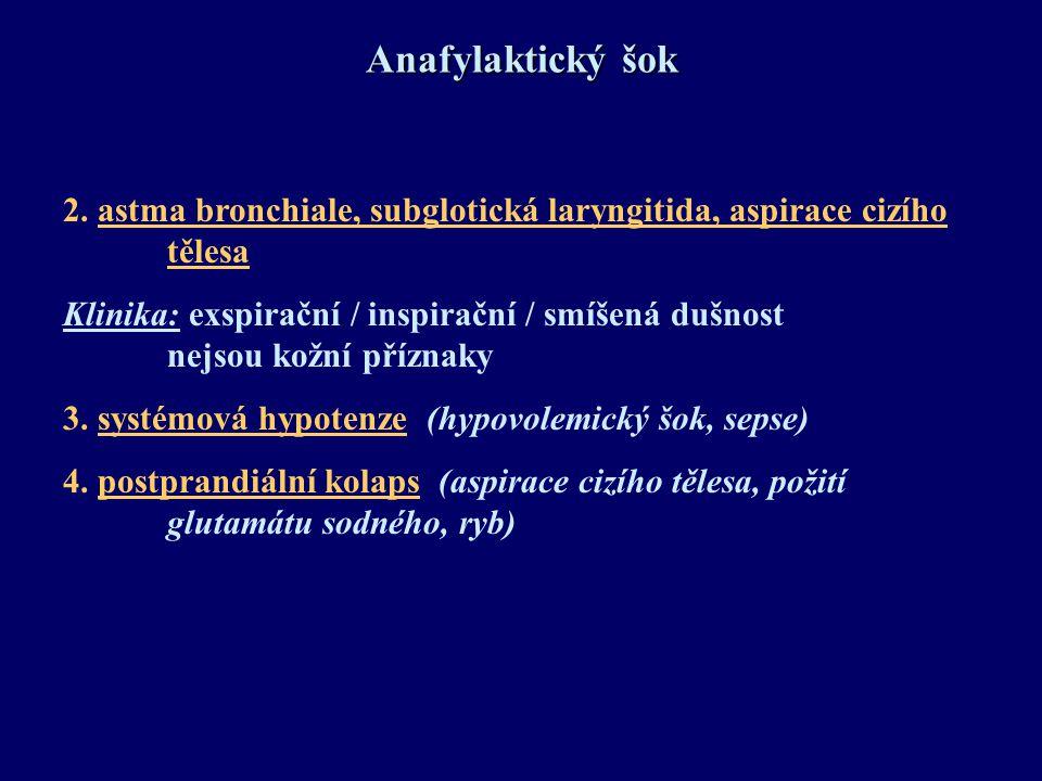 Anafylaktický šok 2. astma bronchiale, subglotická laryngitida, aspirace cizího tělesa.