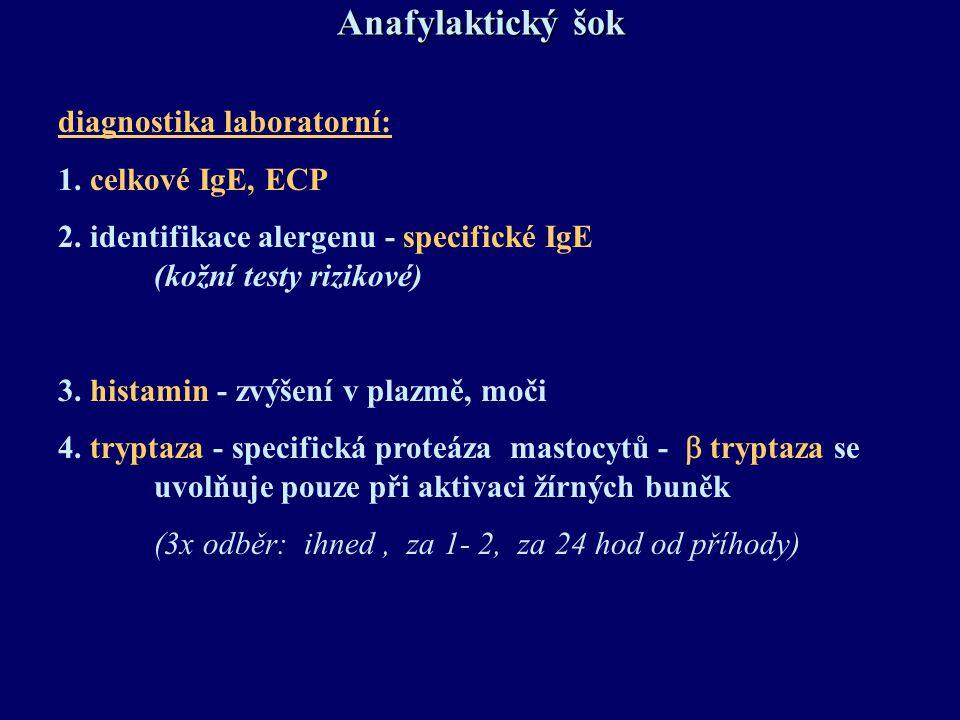 Anafylaktický šok diagnostika laboratorní: 1. celkové IgE, ECP
