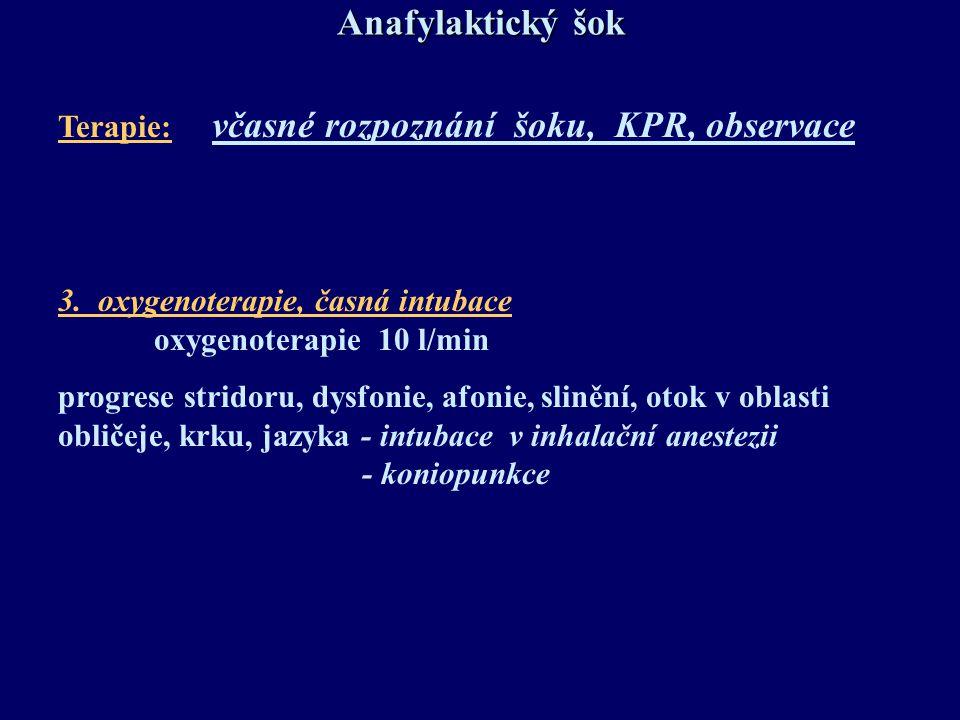 Anafylaktický šok Terapie: včasné rozpoznání šoku, KPR, observace
