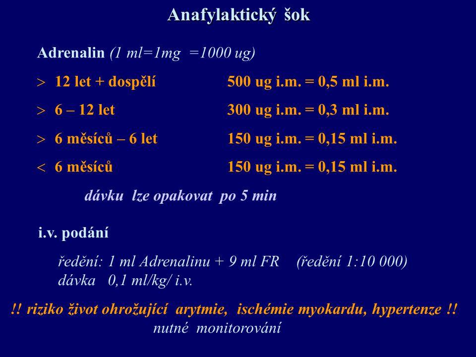 Anafylaktický šok Adrenalin (1 ml=1mg =1000 ug)