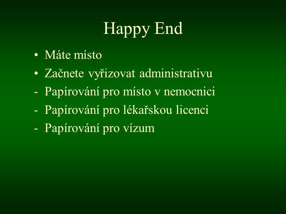 Happy End Máte místo Začnete vyřizovat administrativu