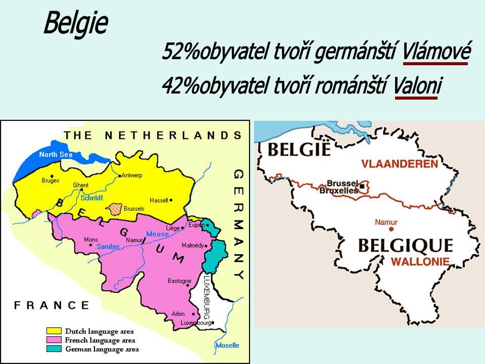 52%obyvatel tvoří germánští Vlámové 42%obyvatel tvoří románští Valoni