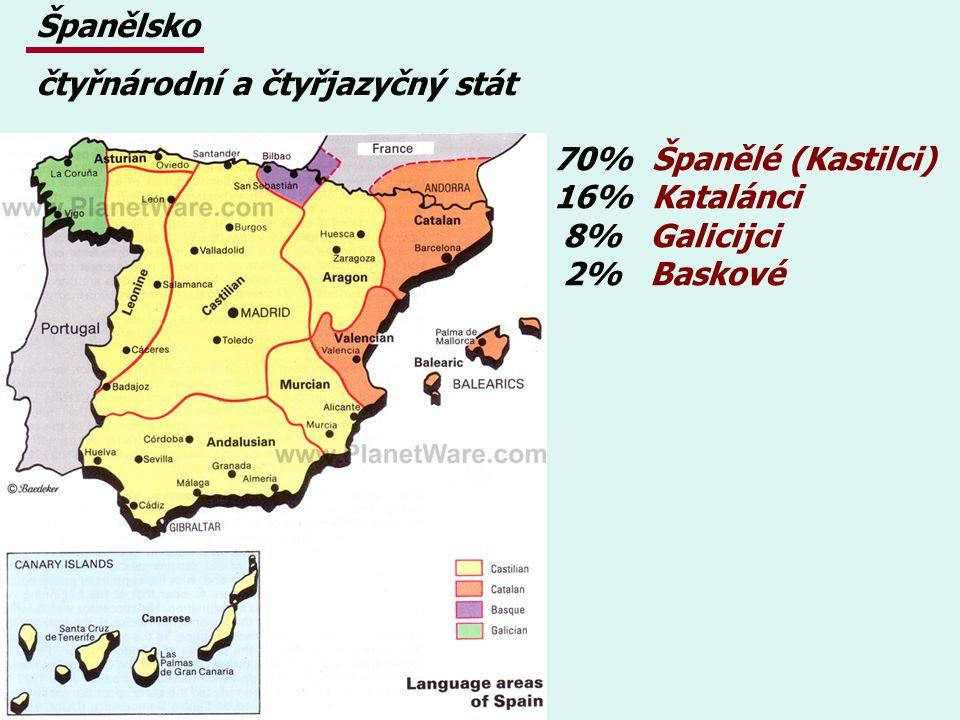 Španělsko čtyřnárodní a čtyřjazyčný stát. 70% Španělé (Kastilci) 16% Katalánci. 8% Galicijci.