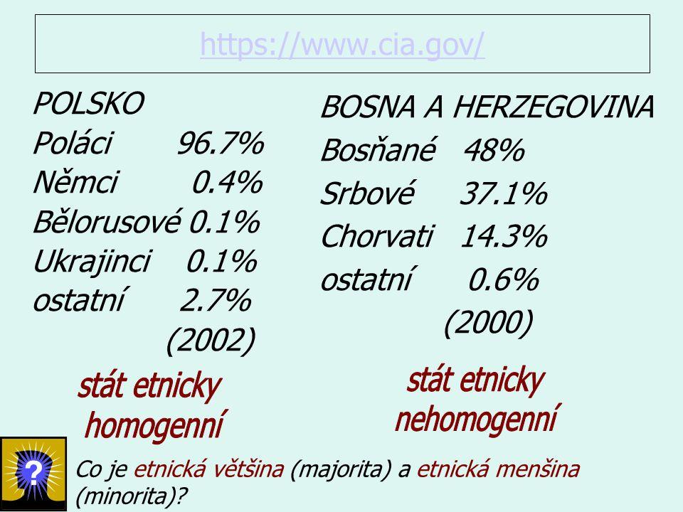 stát etnicky stát etnicky nehomogenní homogenní https://www.cia.gov/