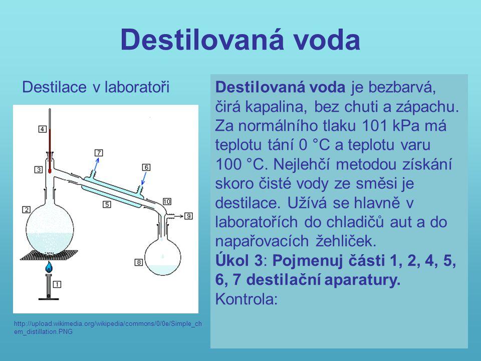 Destilovaná voda Destilace v laboratoři
