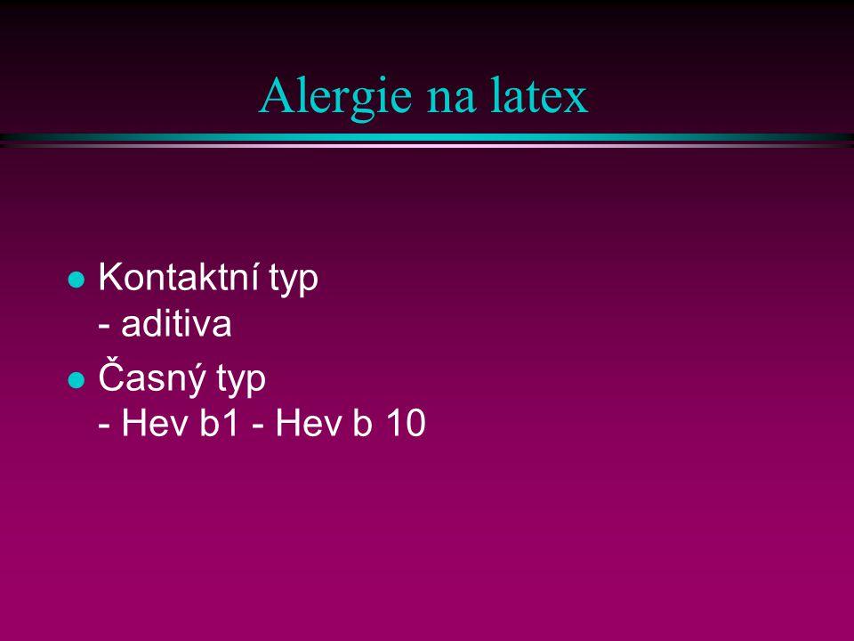 Alergie na latex Kontaktní typ - aditiva.