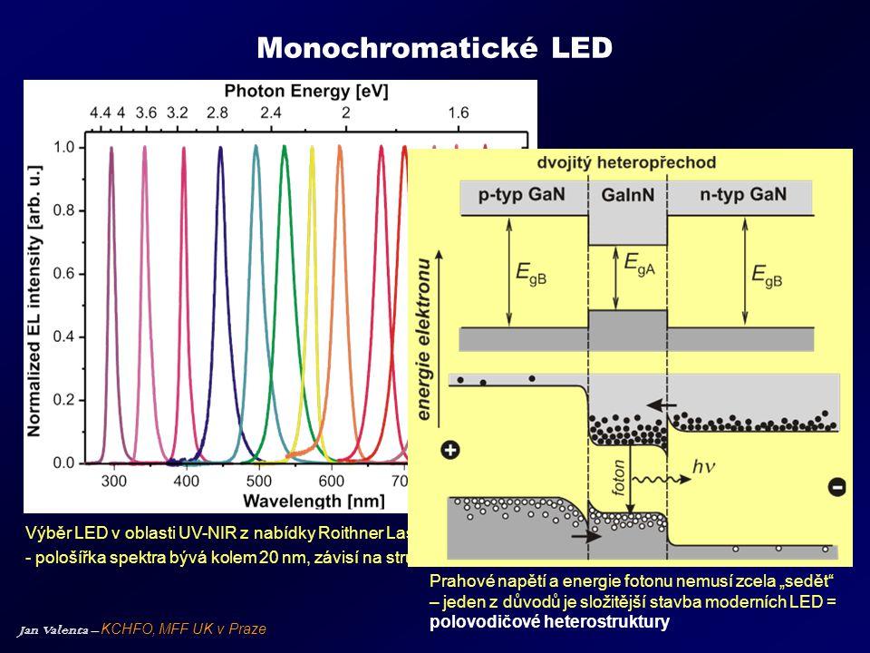 Monochromatické LED Výběr LED v oblasti UV-NIR z nabídky Roithner Lasertechnik, Vídeň. - pološířka spektra bývá kolem 20 nm, závisí na struktuřě LED.