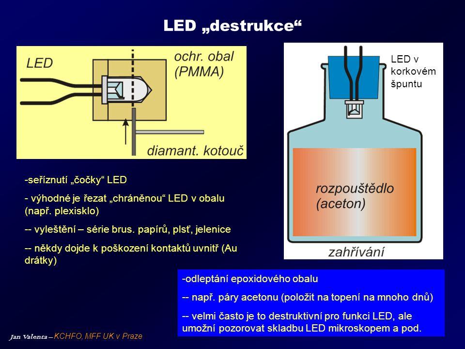 """LED """"destrukce LED v korkovém špuntu seříznutí """"čočky LED"""