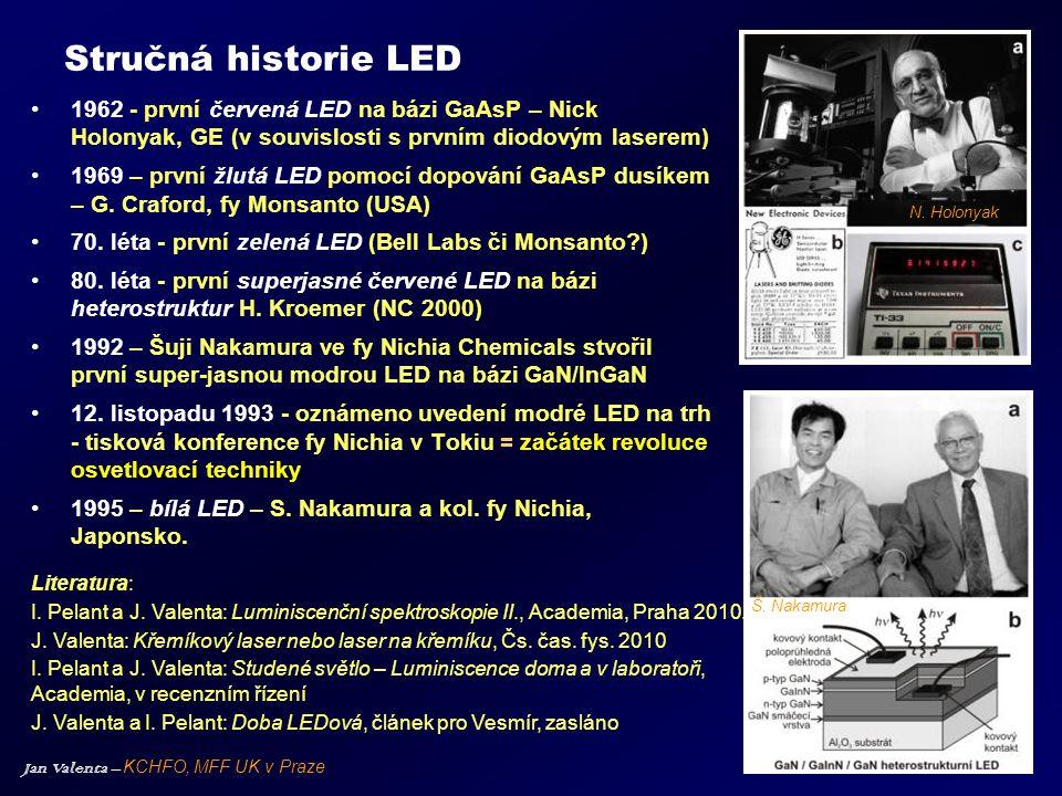 Stručná historie LED 1962 - první červená LED na bázi GaAsP – Nick Holonyak, GE (v souvislosti s prvním diodovým laserem)