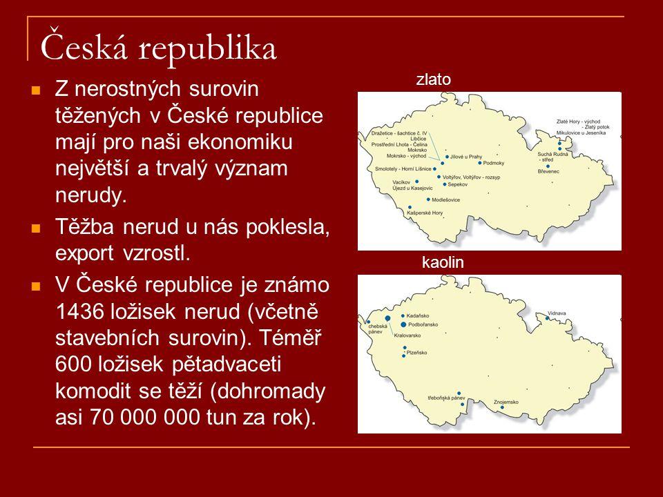 Česká republika zlato. Z nerostných surovin těžených v České republice mají pro naši ekonomiku největší a trvalý význam nerudy.