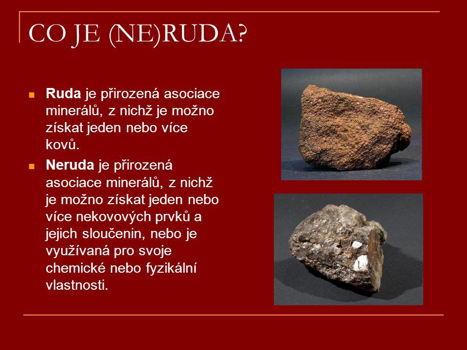 CO JE (NE)RUDA Ruda je přirozená asociace minerálů, z nichž je možno získat jeden nebo více kovů.
