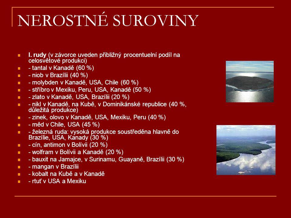 NEROSTNÉ SUROVINY I. rudy (v závorce uveden přibližný procentuelní podíl na celosvětové produkci) - tantal v Kanadě (60 %)
