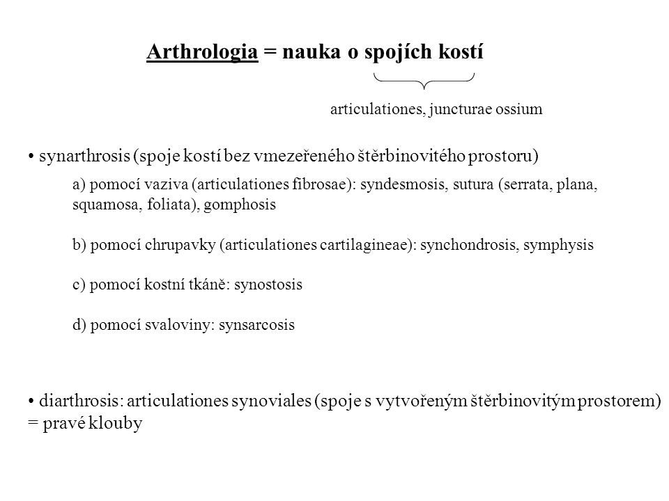 Arthrologia = nauka o spojích kostí