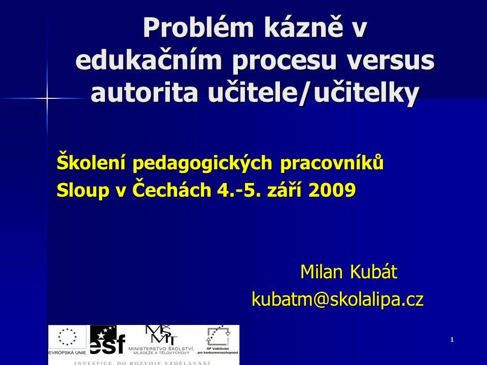 Problém kázně v edukačním procesu versus autorita učitele/učitelky