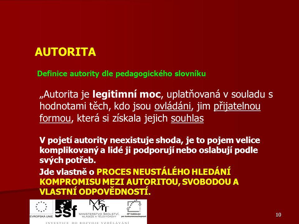 AUTORITA Definice autority dle pedagogického slovníku.