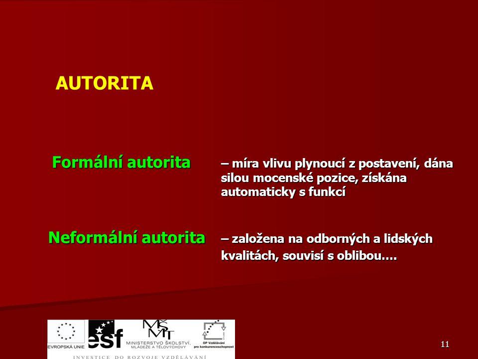AUTORITA Formální autorita Neformální autorita