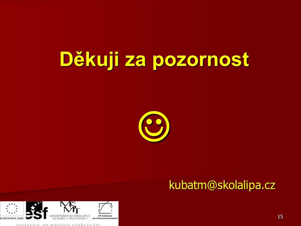 Děkuji za pozornost  kubatm@skolalipa.cz