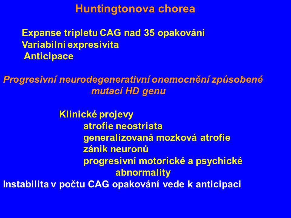 Huntingtonova chorea Expanse tripletu CAG nad 35 opakování