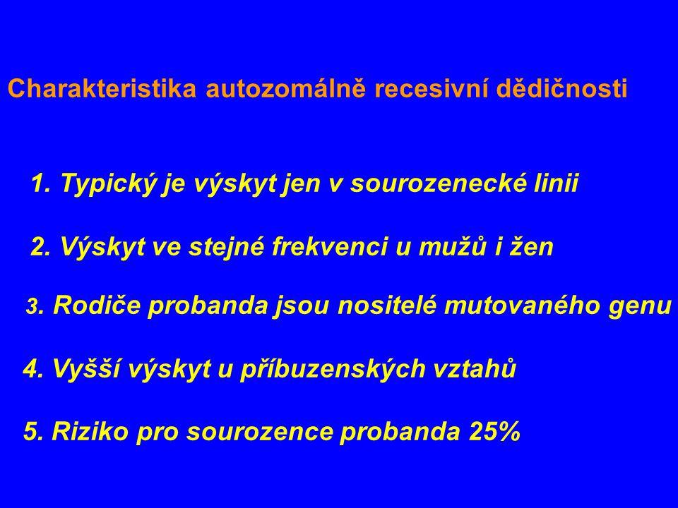 Charakteristika autozomálně recesivní dědičnosti