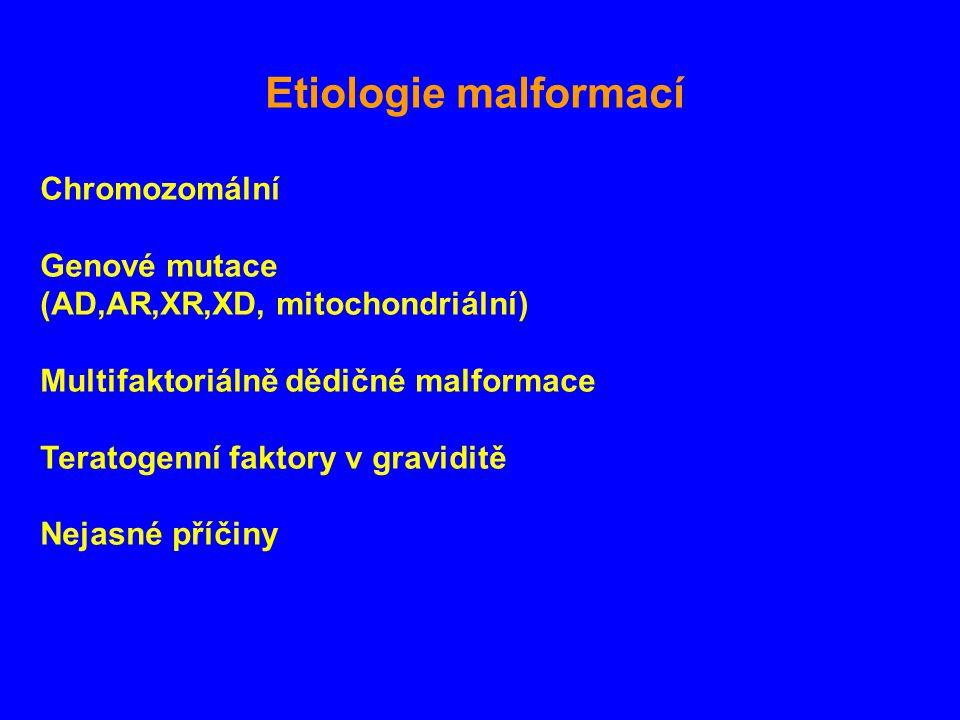 Etiologie malformací Chromozomální Genové mutace