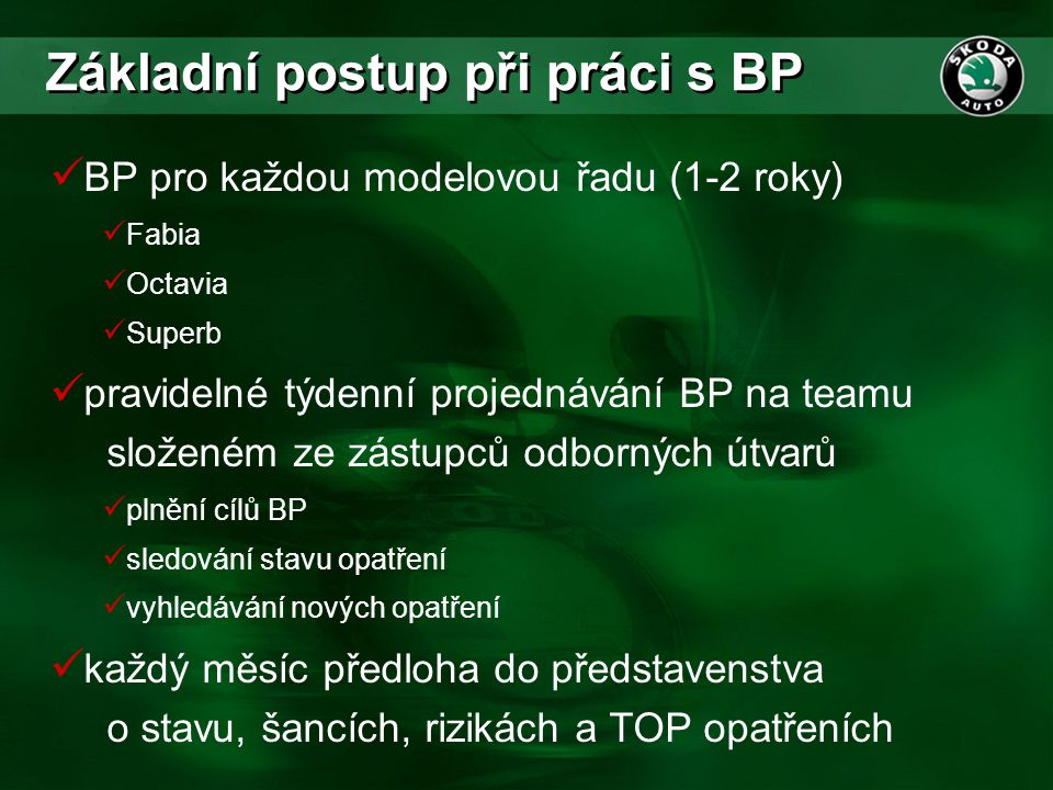 Základní postup při práci s BP