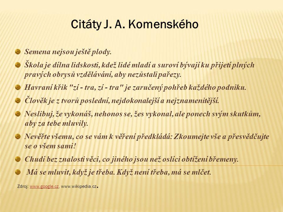Citáty J. A. Komenského Semena nejsou ještě plody.
