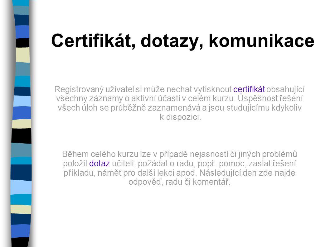 Certifikát, dotazy, komunikace