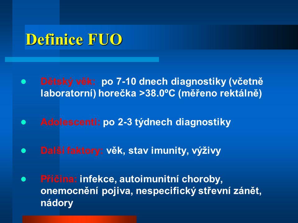 Definice FUO Dětský věk: po 7-10 dnech diagnostiky (včetně laboratorní) horečka >38.0ºC (měřeno rektálně)