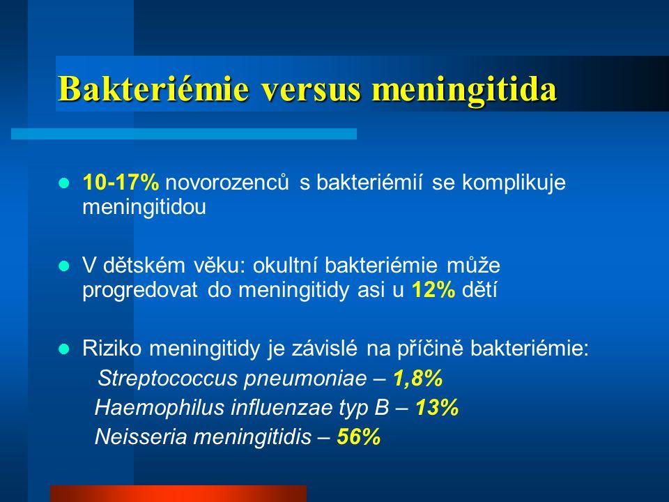 Bakteriémie versus meningitida
