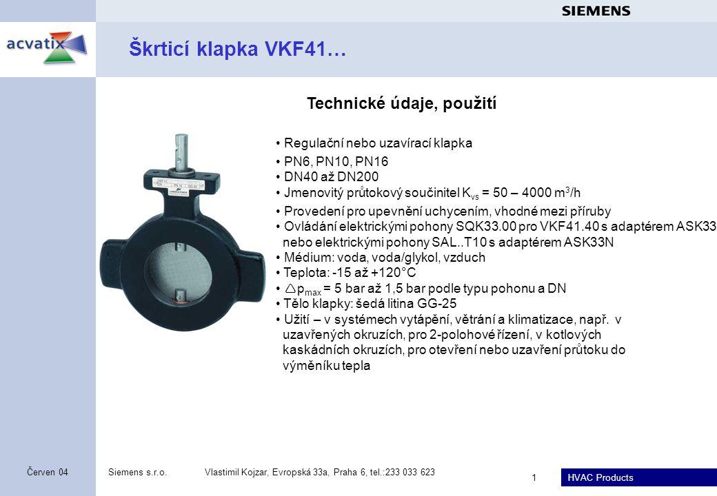 Škrticí klapka VKF41… Technické údaje, použití