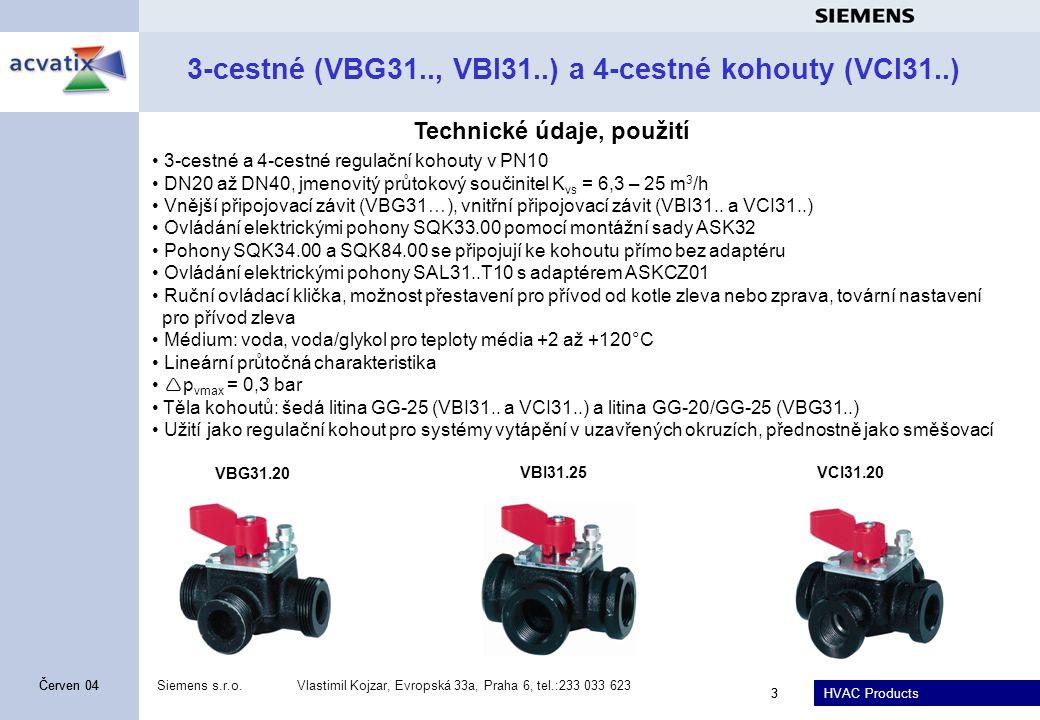 3-cestné (VBG31.., VBI31..) a 4-cestné kohouty (VCI31..)