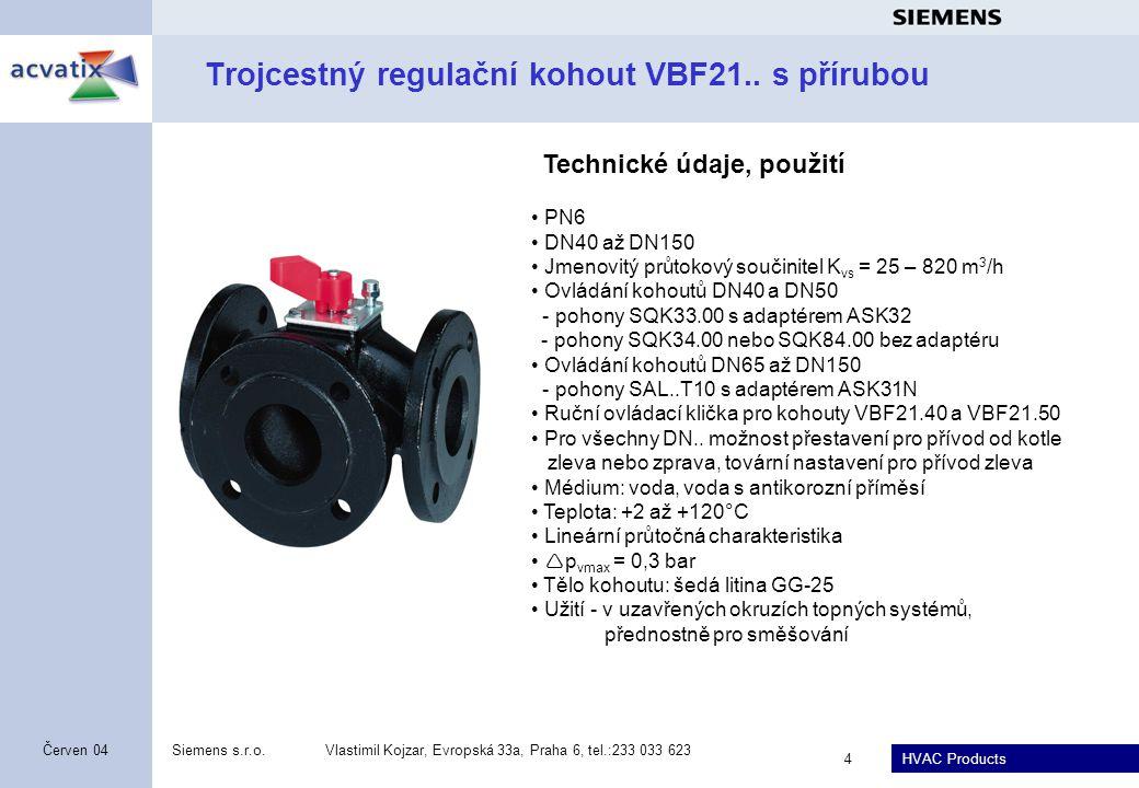Trojcestný regulační kohout VBF21.. s přírubou