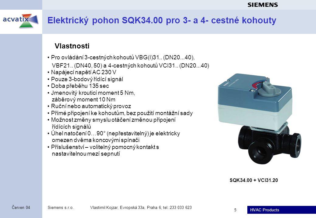 Elektrický pohon SQK34.00 pro 3- a 4- cestné kohouty