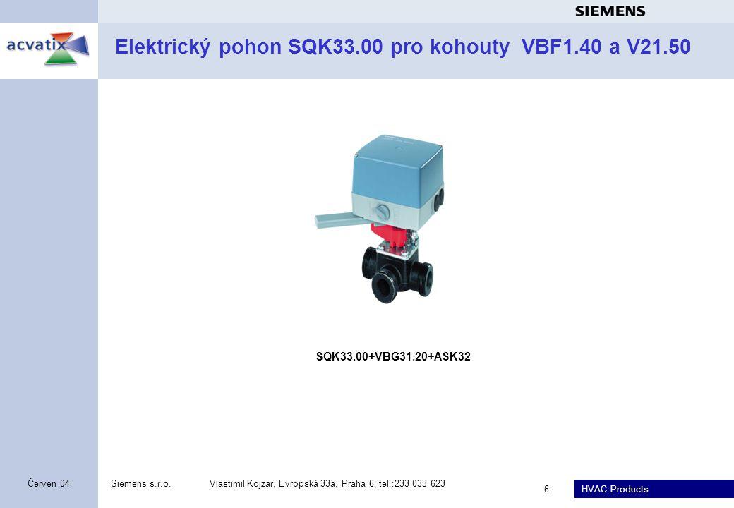 Elektrický pohon SQK33.00 pro kohouty VBF1.40 a V21.50
