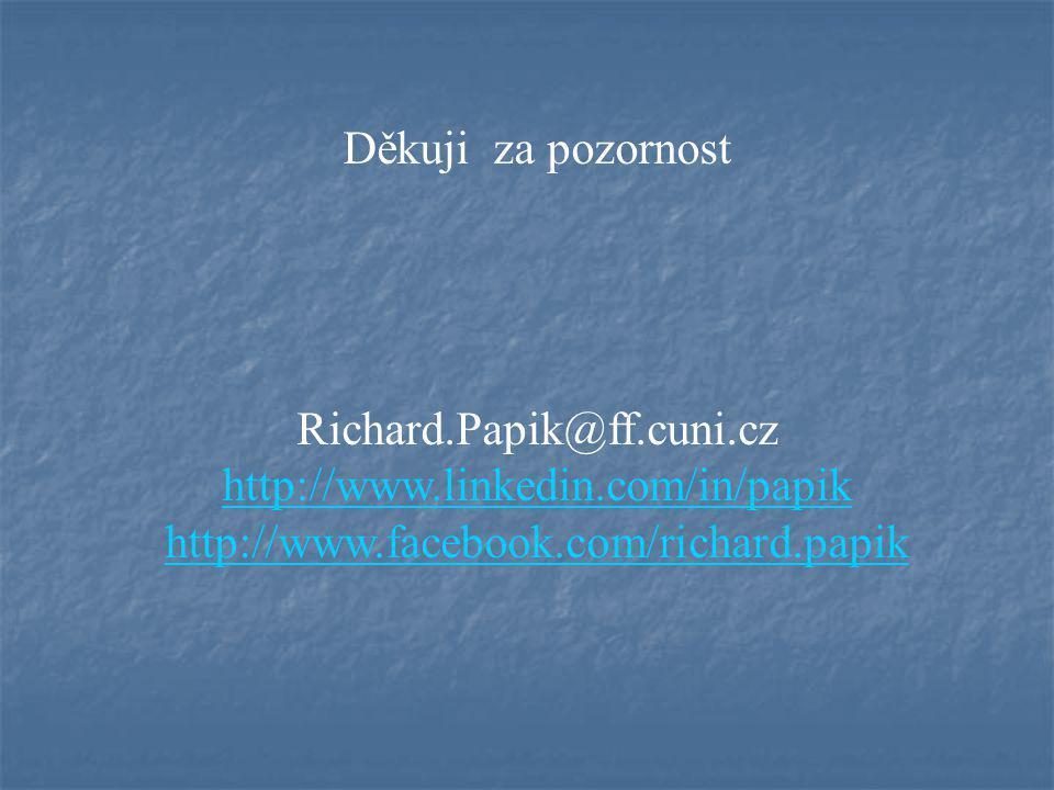 Děkuji za pozornost Richard.Papik@ff.cuni.cz. http://www.linkedin.com/in/papik.