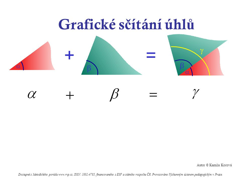 + = Grafické sčítání úhlů      Kamila Kočová