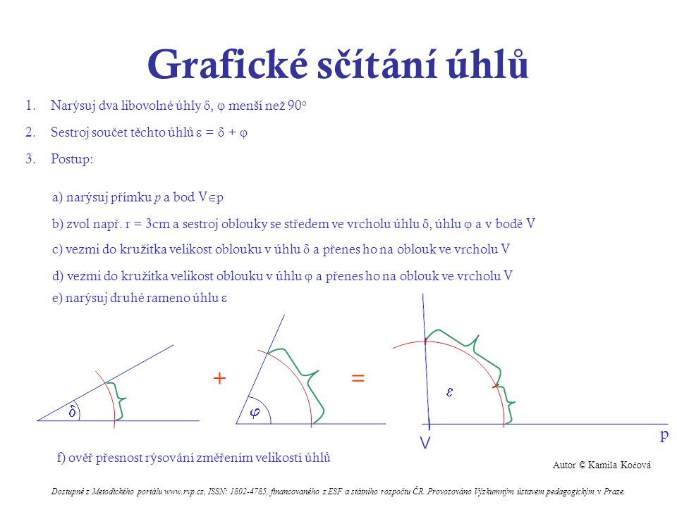 Grafické sčítání úhlů + =    p V