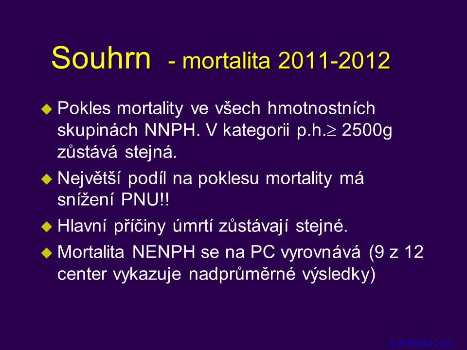 Souhrn - mortalita 2011-2012 Pokles mortality ve všech hmotnostních skupinách NNPH. V kategorii p.h. 2500g zůstává stejná.