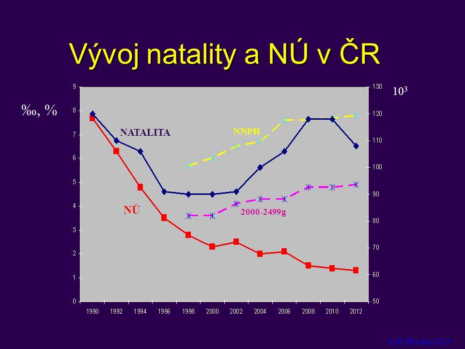 Vývoj natality a NÚ v ČR ‰, % 103 NÚ NATALITA NNPH 2000-2499g