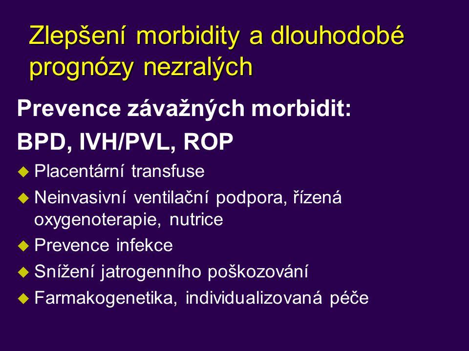 Zlepšení morbidity a dlouhodobé prognózy nezralých