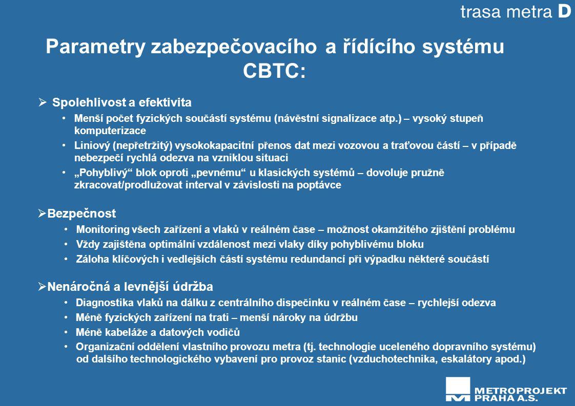 Parametry zabezpečovacího a řídícího systému CBTC: