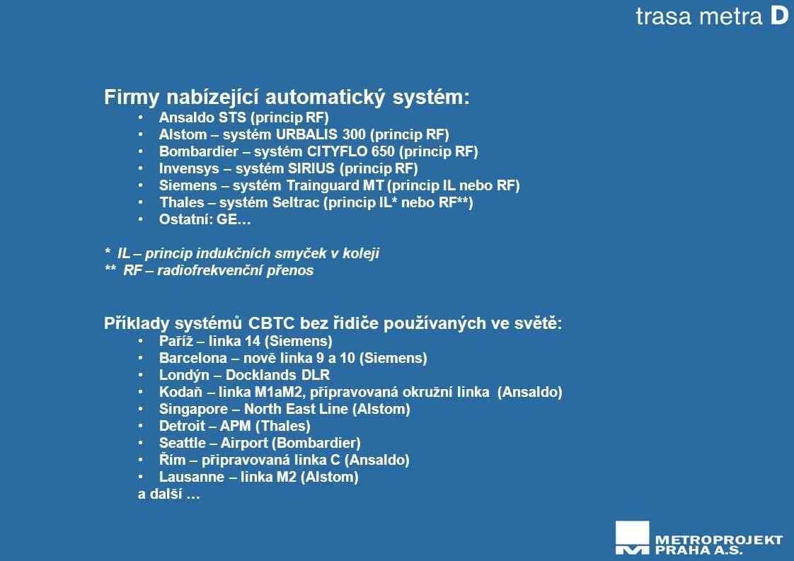 Firmy nabízející automatický systém: