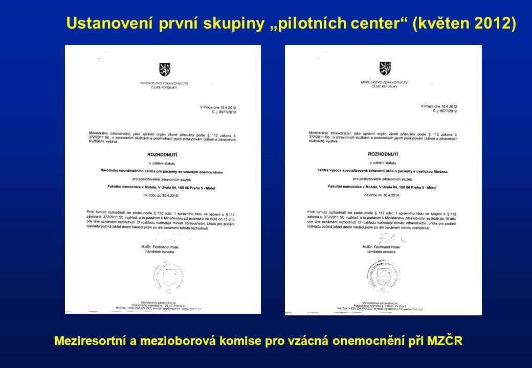 """Ustanovení první skupiny """"pilotních center (květen 2012)"""