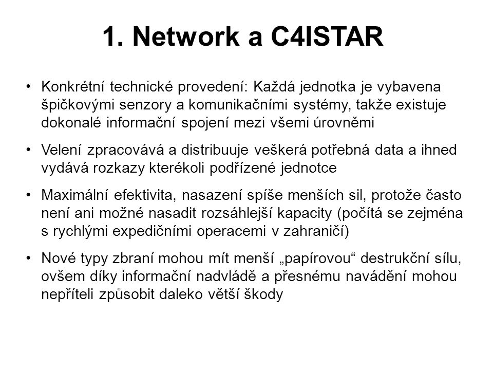 1. Network a C4ISTAR