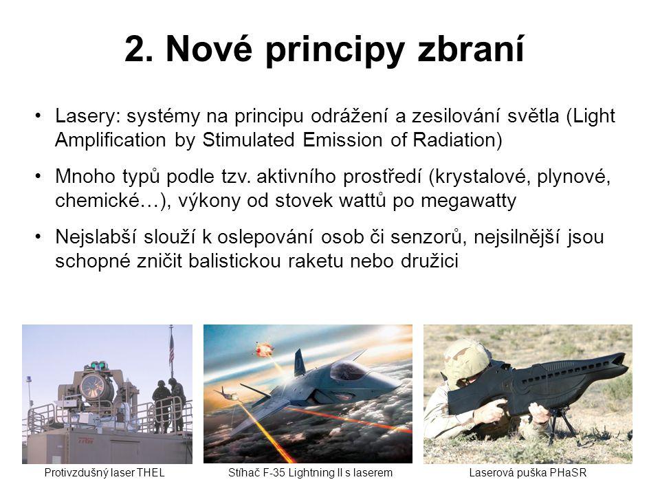 2. Nové principy zbraní Lasery: systémy na principu odrážení a zesilování světla (Light Amplification by Stimulated Emission of Radiation)