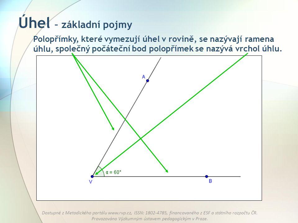 Úhel – základní pojmy Polopřímky, které vymezují úhel v rovině, se nazývají ramena úhlu, společný počáteční bod polopřímek se nazývá vrchol úhlu.