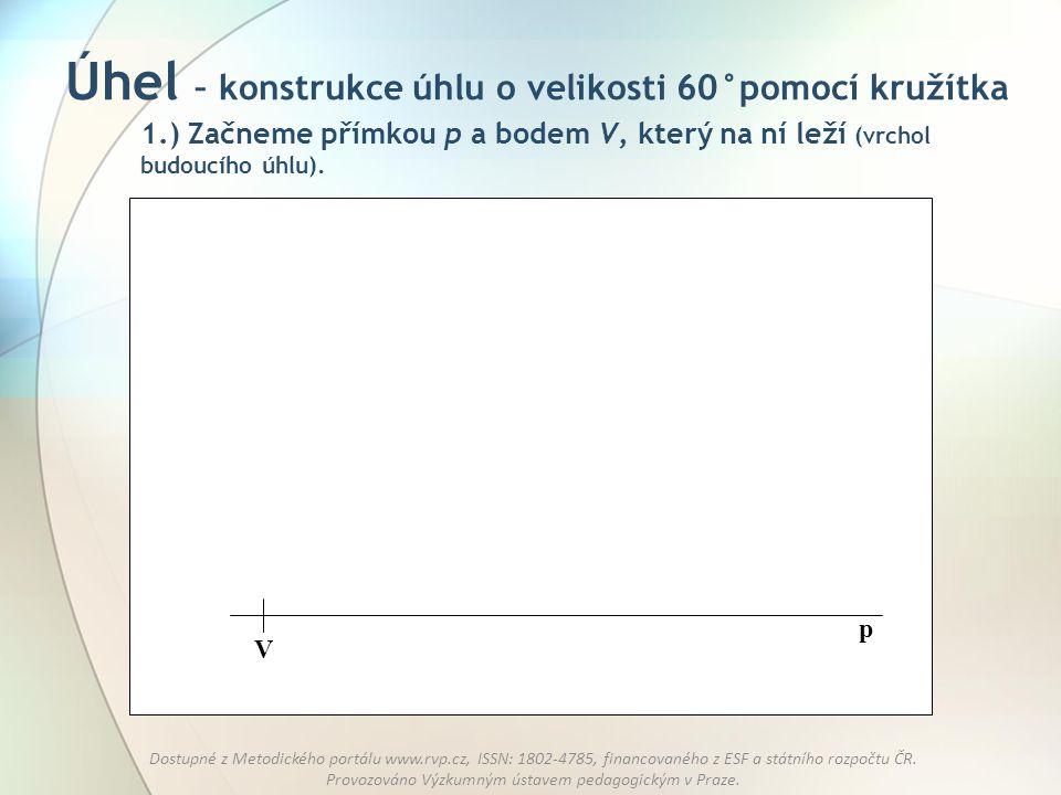 Úhel – konstrukce úhlu o velikosti 60°pomocí kružítka