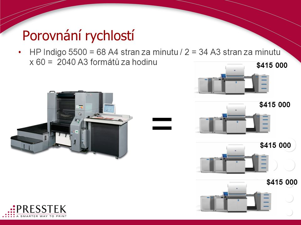Porovnání rychlostí HP Indigo 5500 = 68 A4 stran za minutu / 2 = 34 A3 stran za minutu x 60 = 2040 A3 formátů za hodinu.