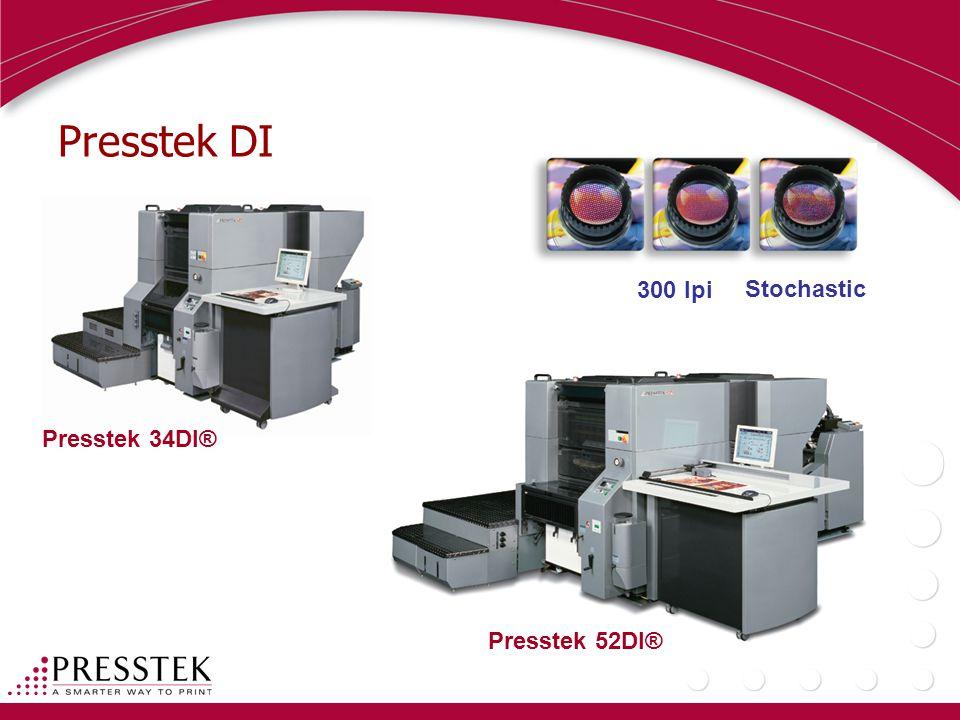 Presstek DI 300 lpi Stochastic Presstek 34DI® Presstek 52DI®