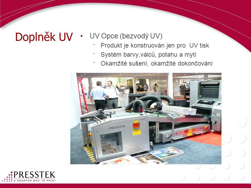 Doplněk UV UV Opce (bezvodý UV) Produkt je konstruován jen pro UV tisk